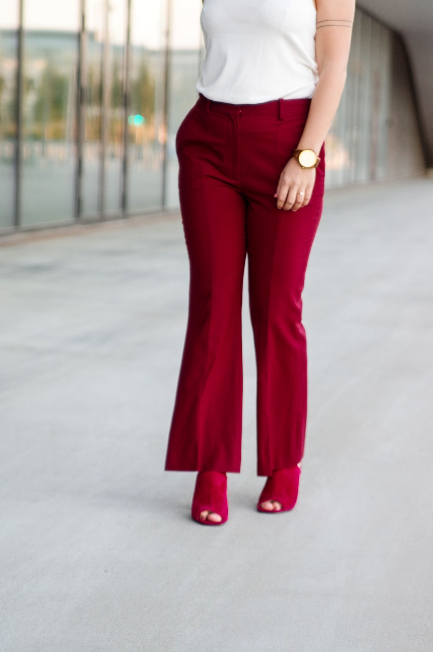 Flared burgundy pants