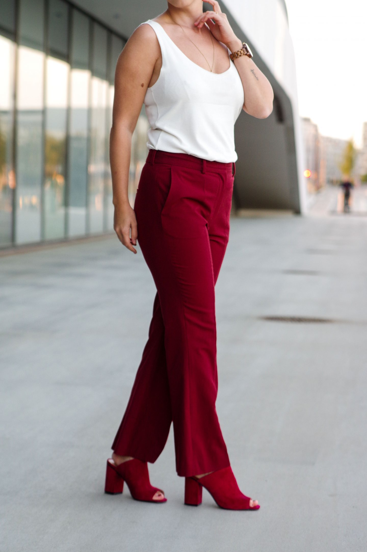 Flared pants burgundy