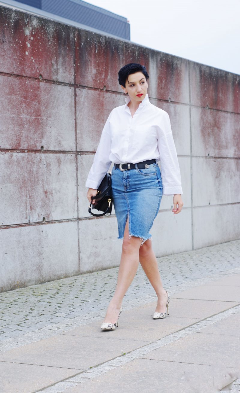 denim skirt work wear outfit 2017  be you very well