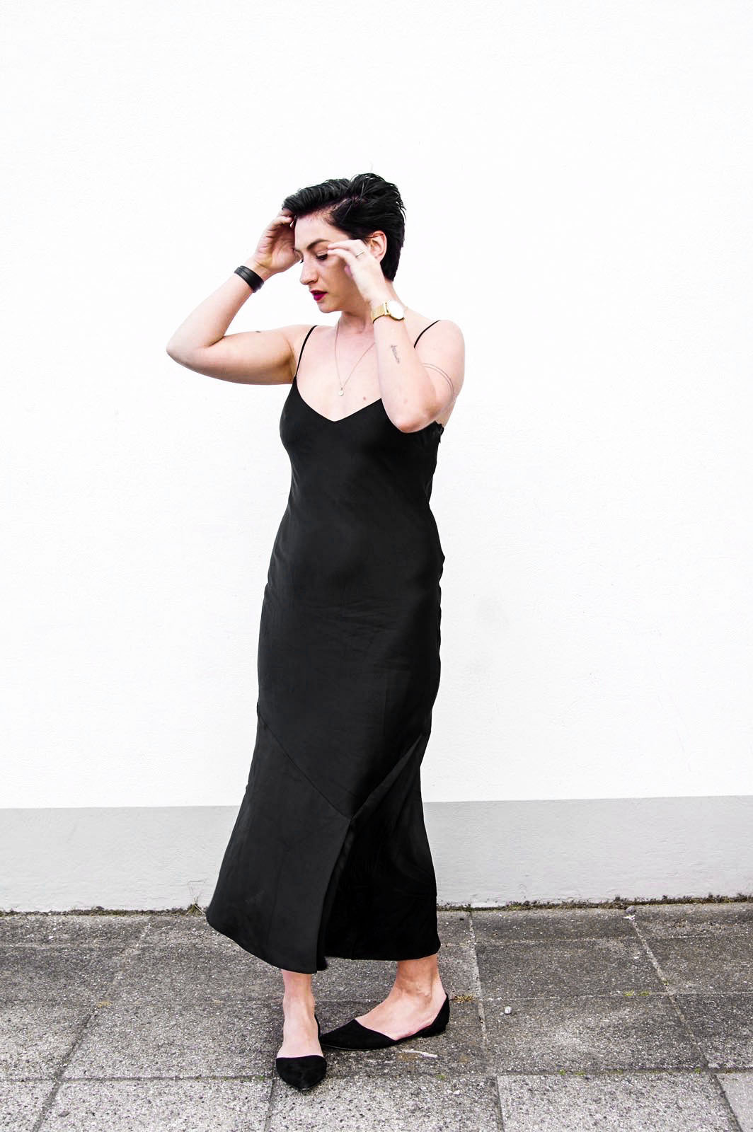 Satin Black long dress, party dress, christmas party dress copy