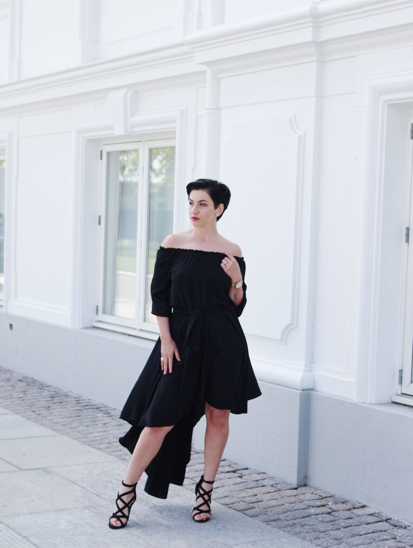 Summer dress, 80's dress, the black dress, high heels, short hair