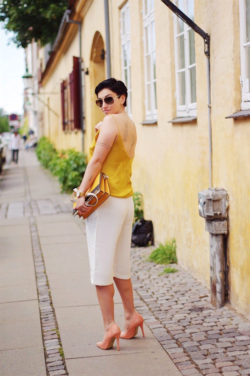 summer outfit- white and yellow