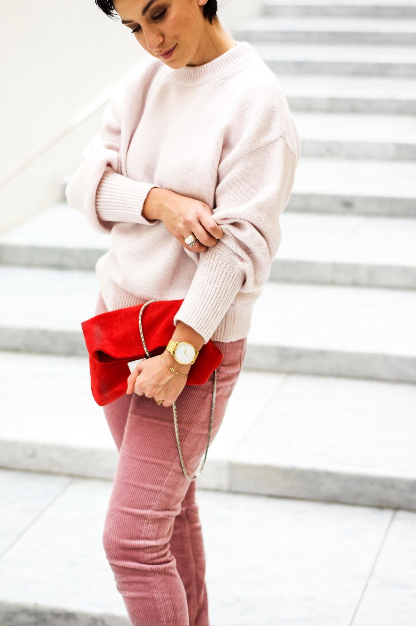 Corduroy trousers and sweater outfit pink and red combination copy