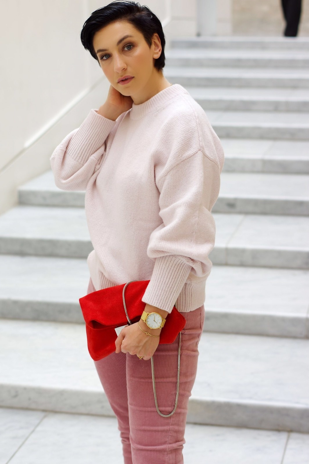 Corduroy trousers pink sweater fall outfit fall fashion, how to make someone smile