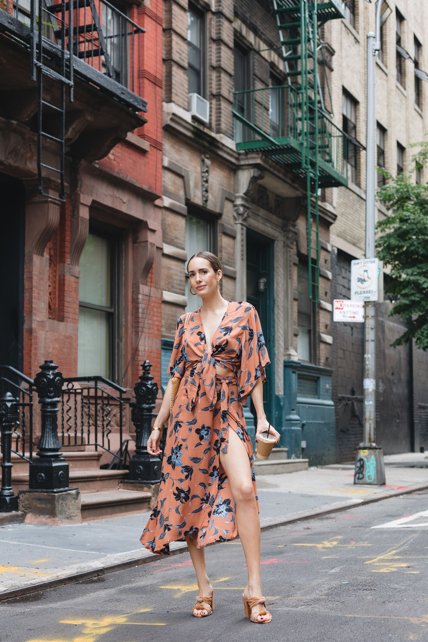 Louise-Roe-wearing-Fall-Florals-in-New-York-Faithfull-The-Brand-Dress-1