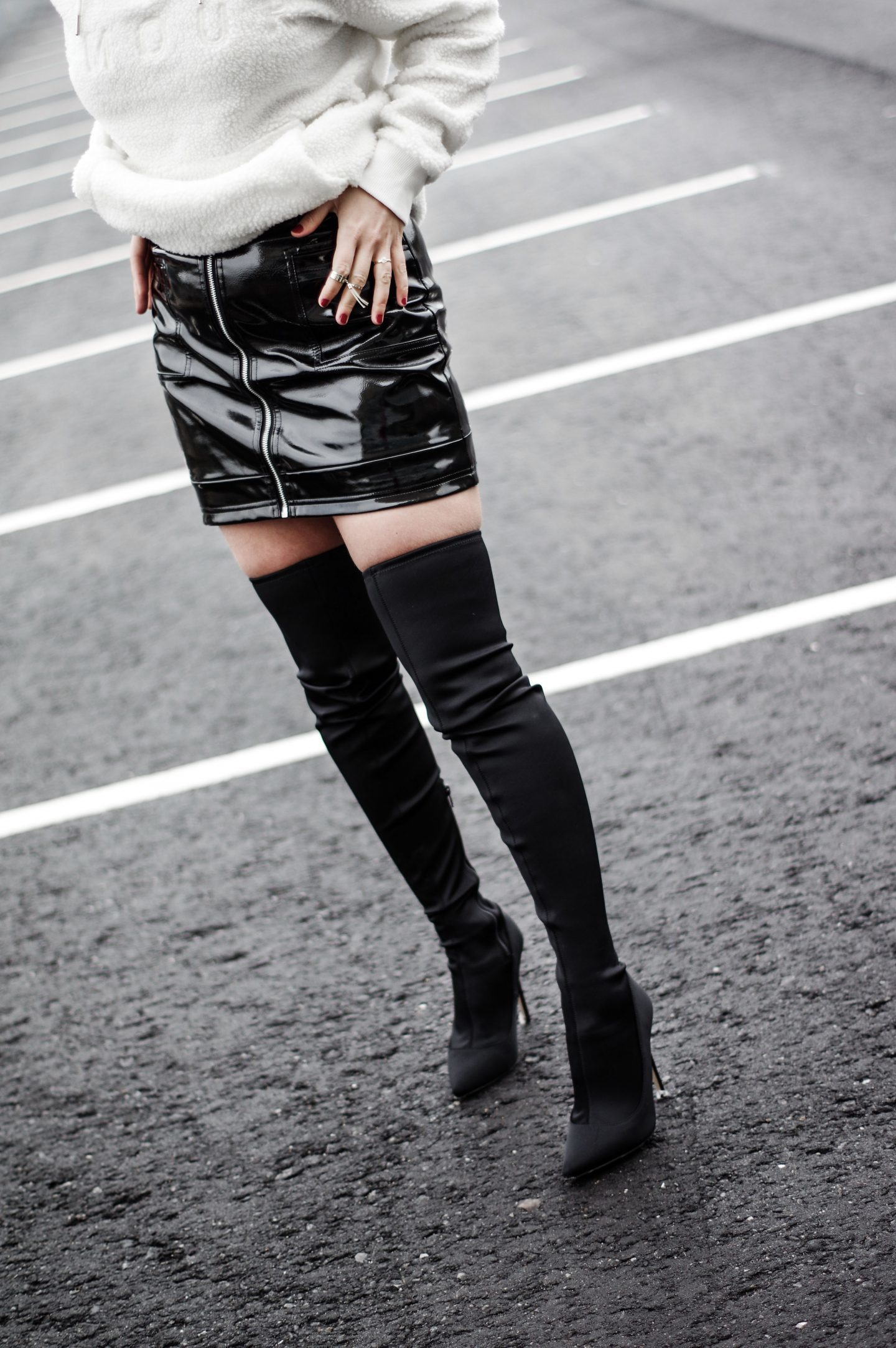 Hoodie sweatshirt fall outfit fall fashion over the knee boots shiny skirt