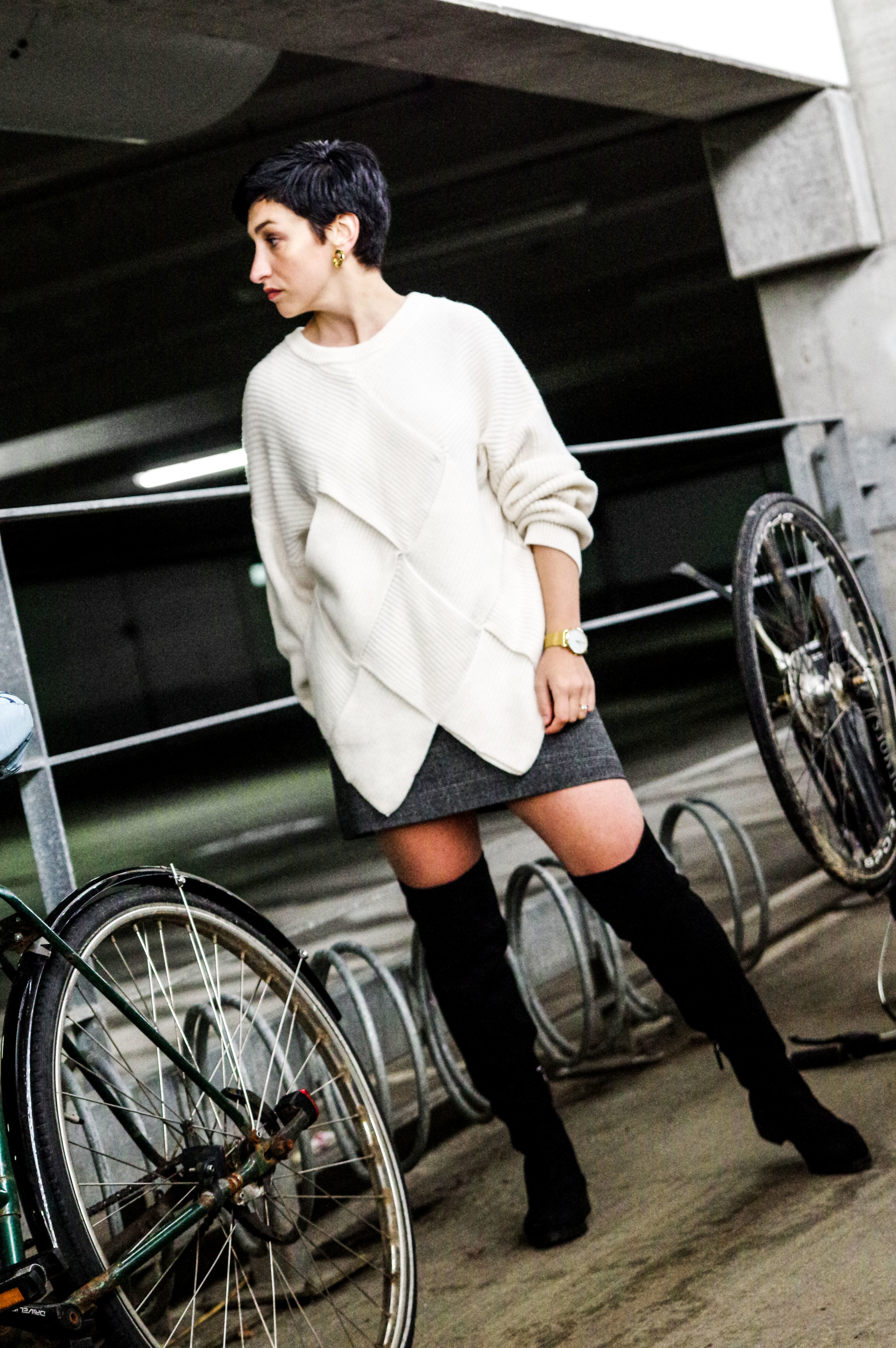 winter holiday outfit, white sweater, over the knee boots, short skirt, women fashion