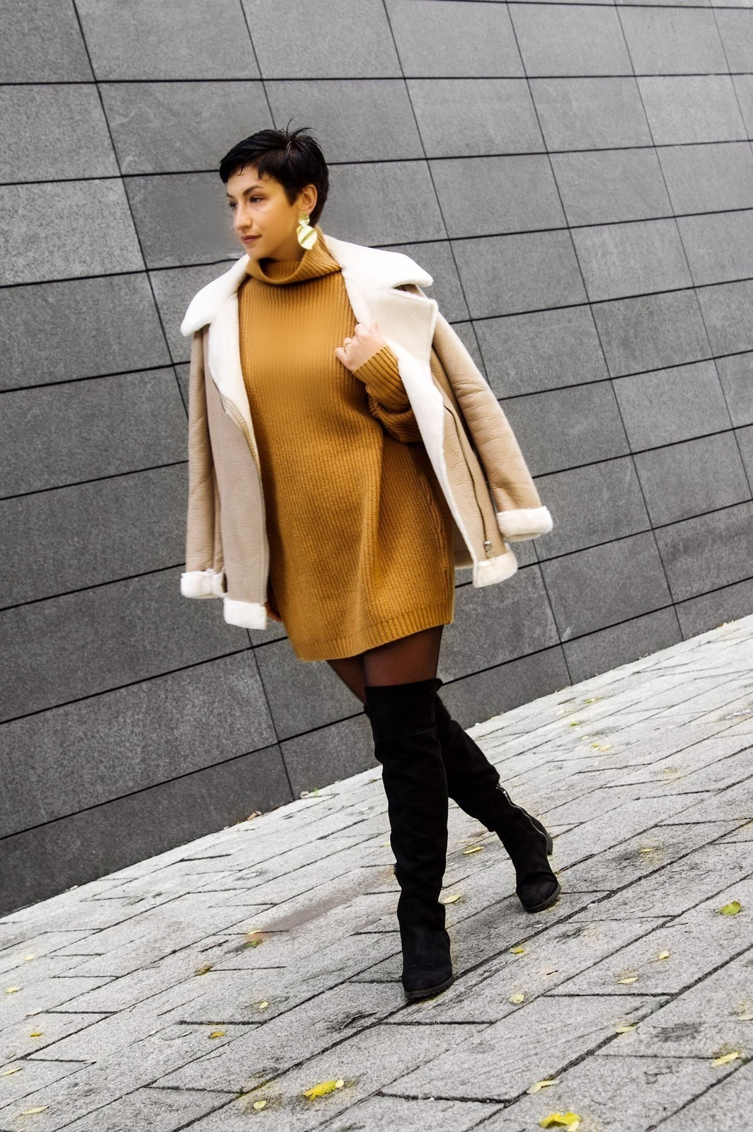 aviator faux fur jacket, knitted dress, over the knee boots, fall oufit winter outfit