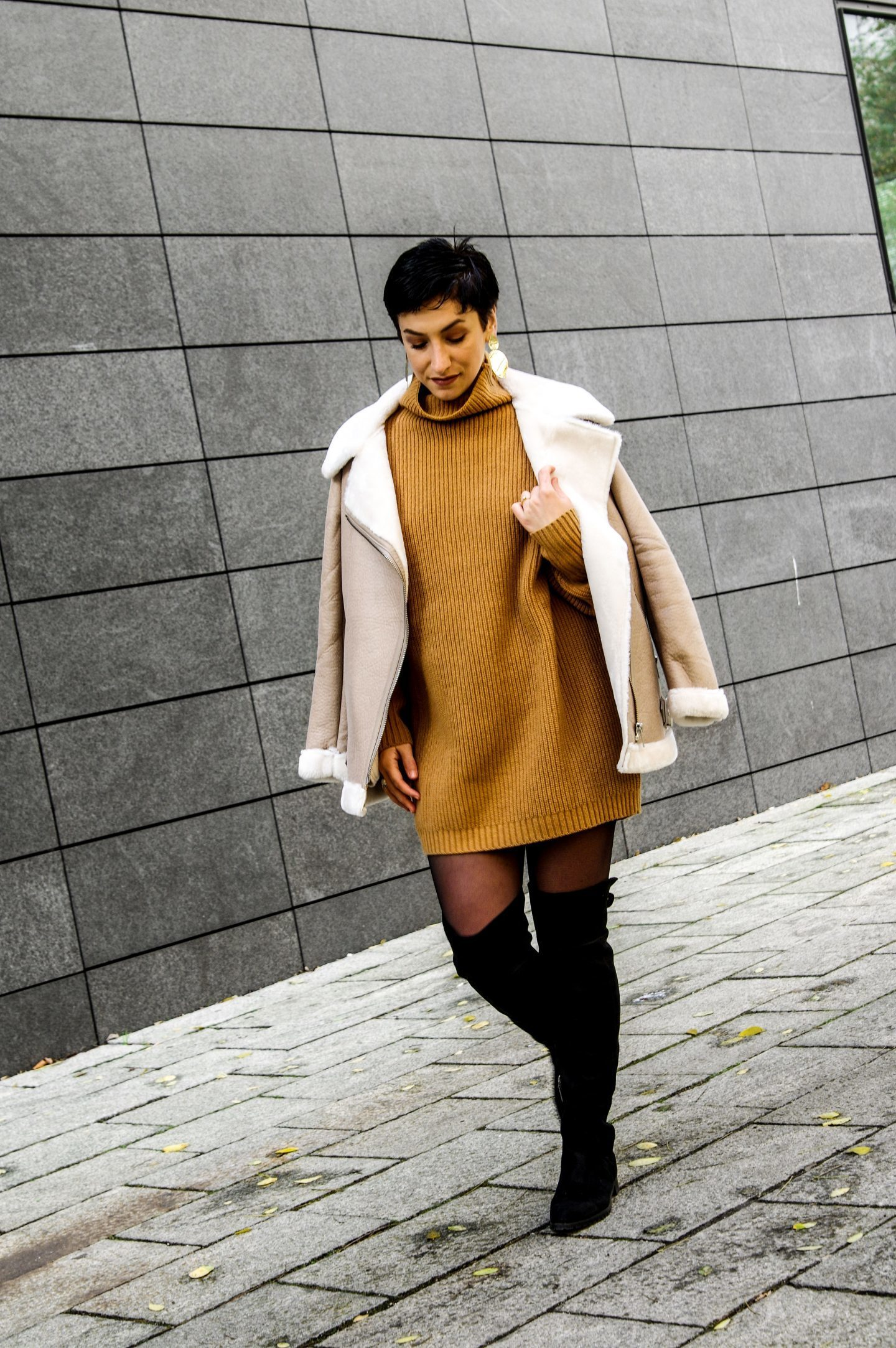 knitted dress aviator faux fur camel coat, over the knee boots, earrings, fall fashion winter outfit