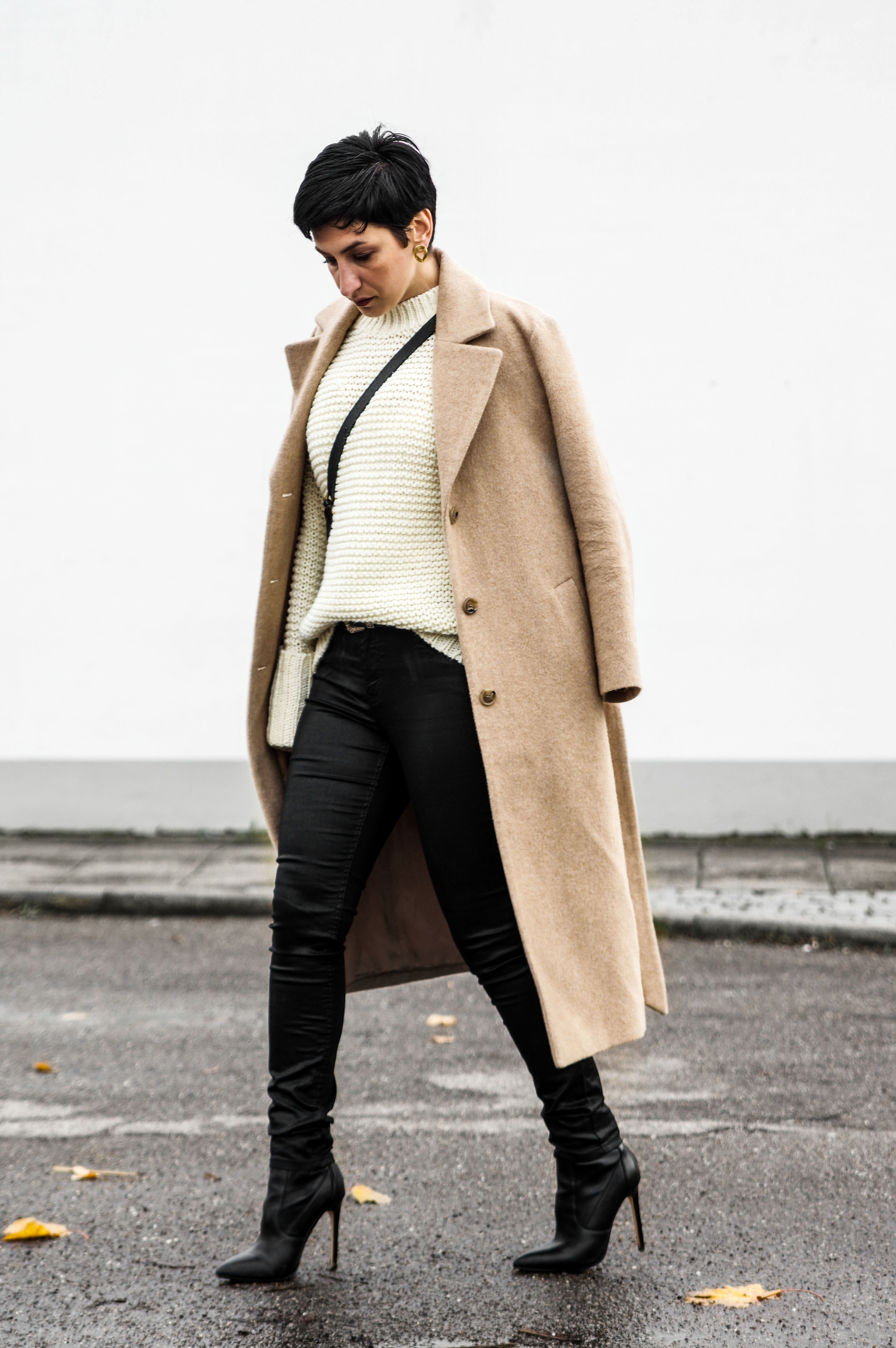 camel coat, high heel boots, winter outfit, women fashion, outfit for winter season, what to wear at work
