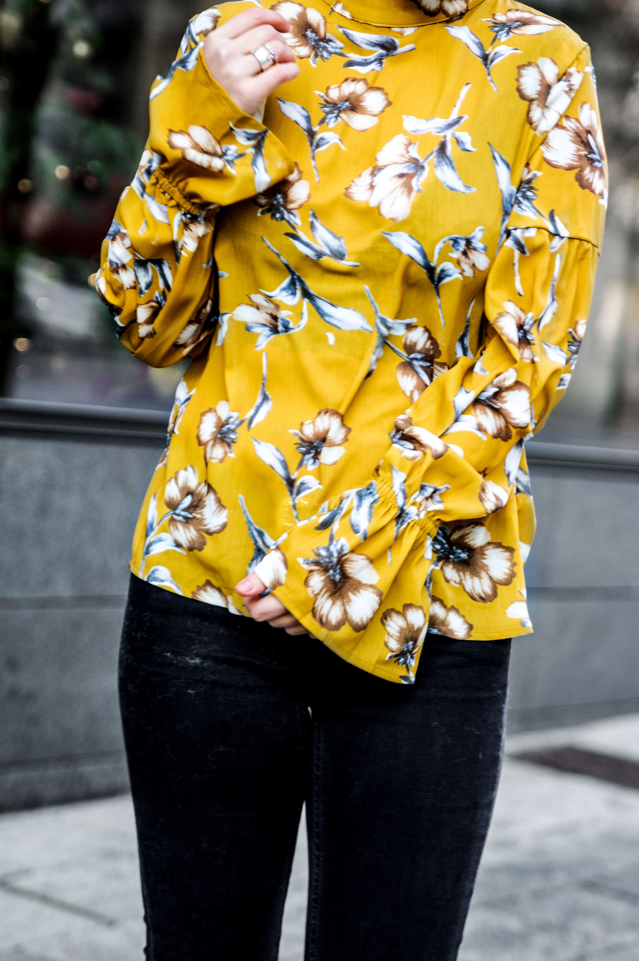 floral top winter outfit