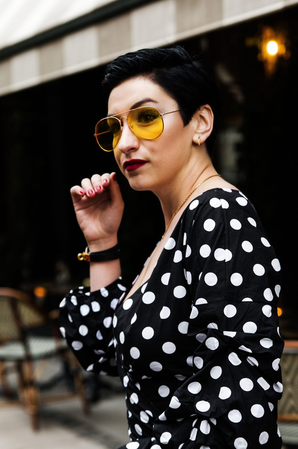 polka dots valentines day outfit, polka dots spring outfit, women top , glasses, eyewear, short hairstyle, black short hairstyle, pixxie cut. 1jpg
