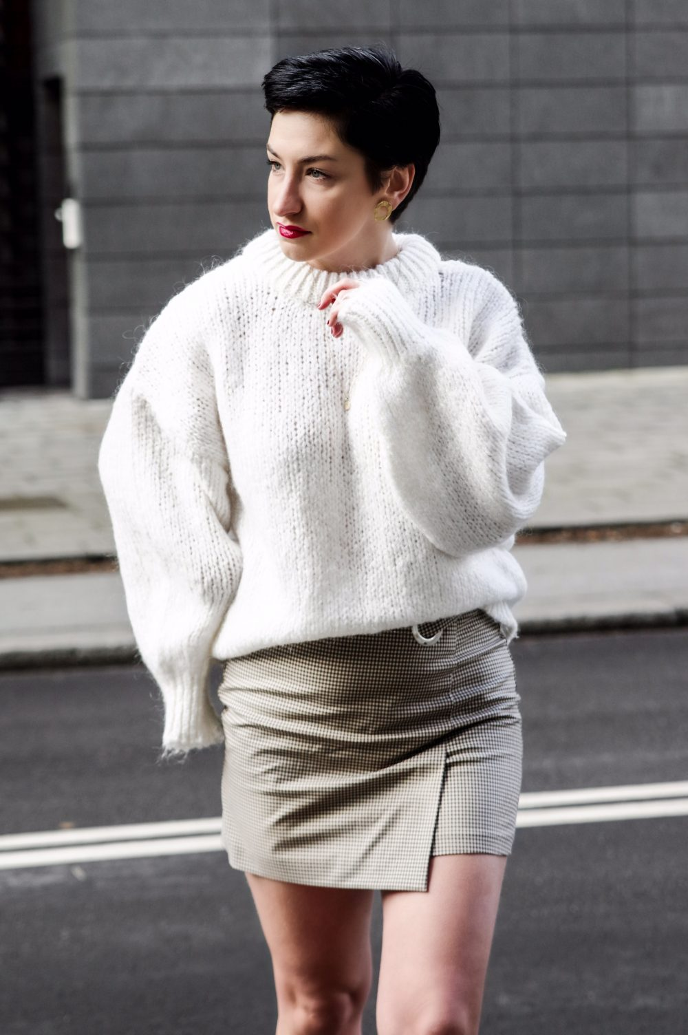 white zara sweater, sweater weather, wrap skirt, winter look, spring outfit