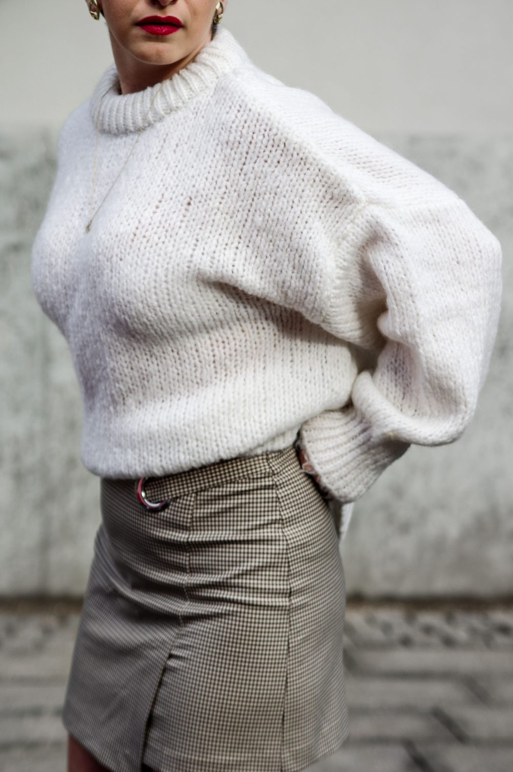 white zara sweater, sweater weather, wrap skirt, winter look, spring outfit1