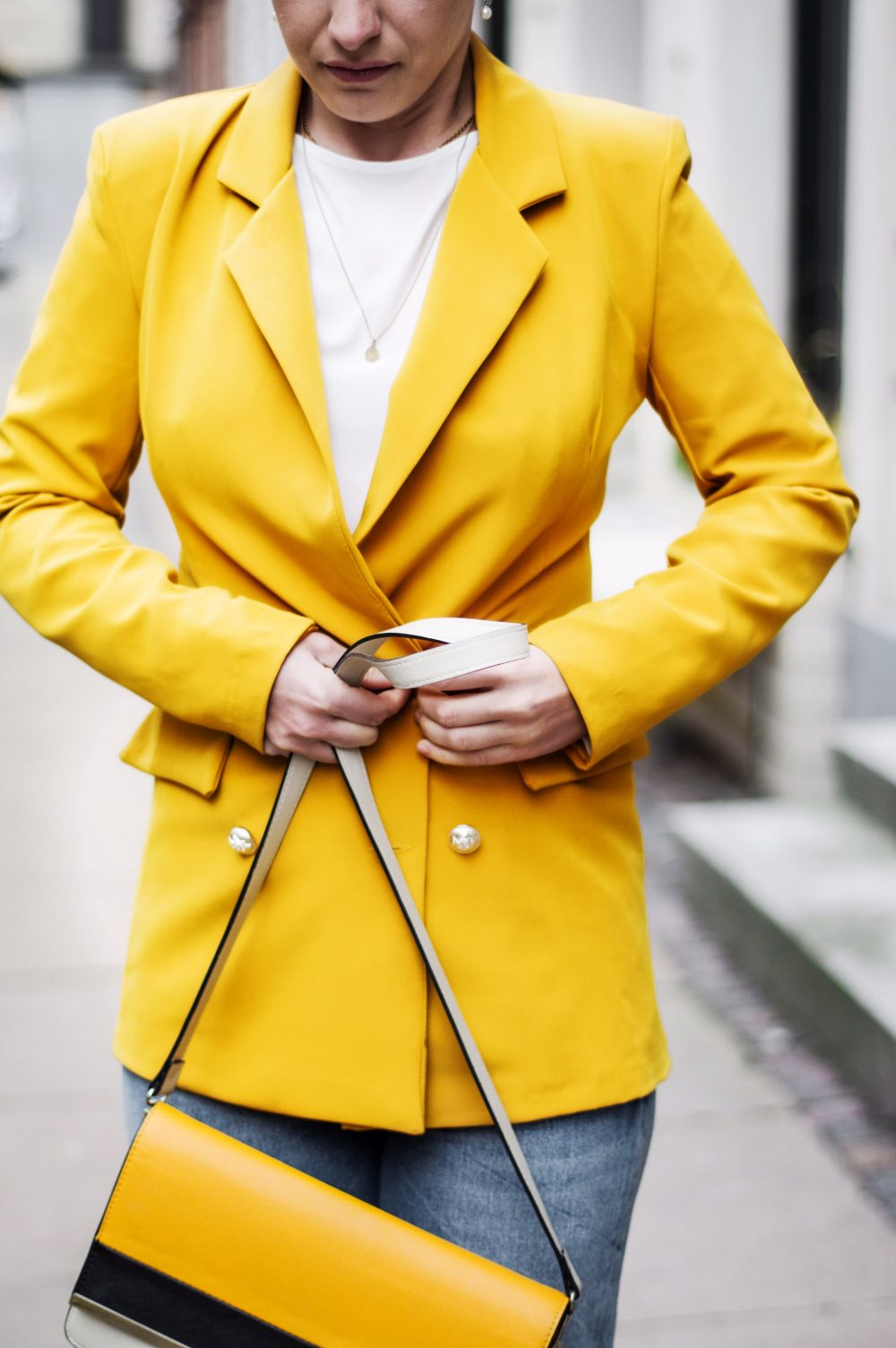 blazer spring 2018, yellow blazer work wear, casual outfit, spring fashion 2018