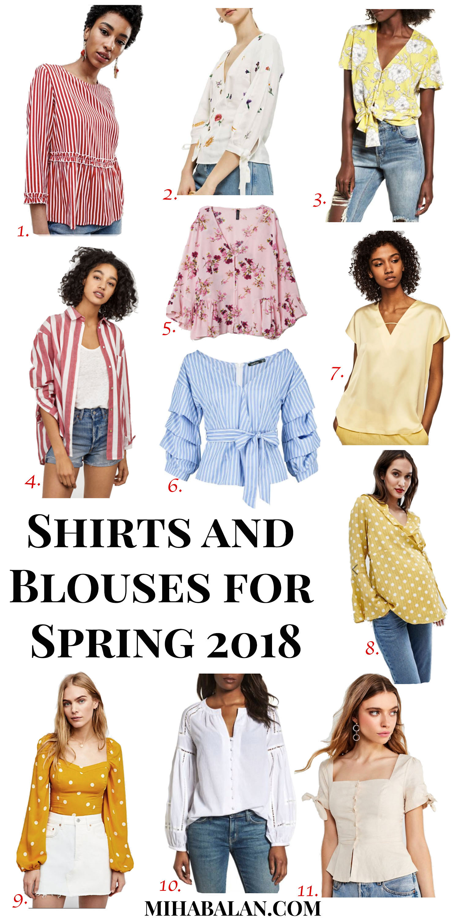 shirts and blouses for spring 2018