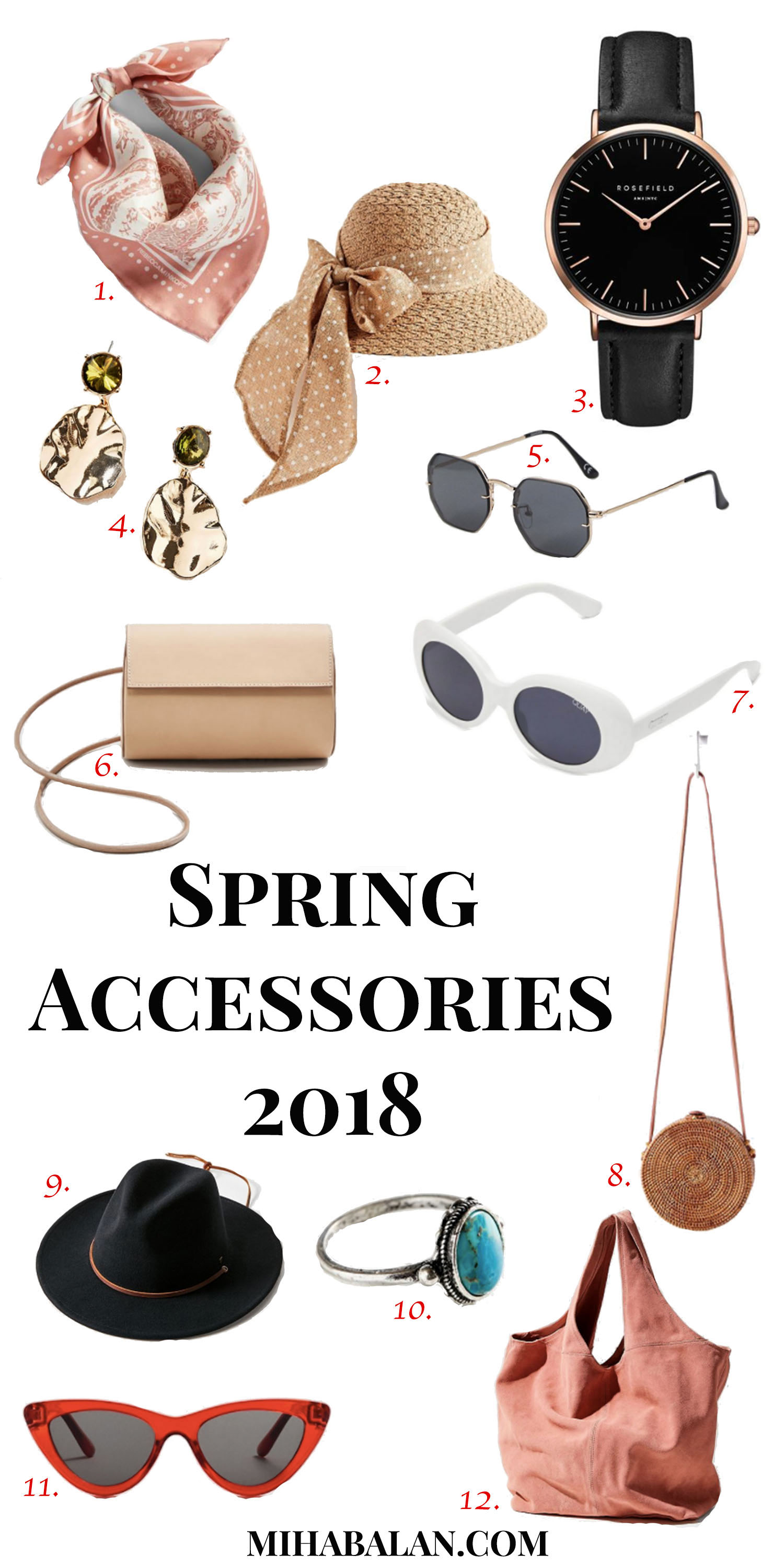 spring accessories 2018, hats, sunglasses, hair accessories, spring bags, watches, jewellery