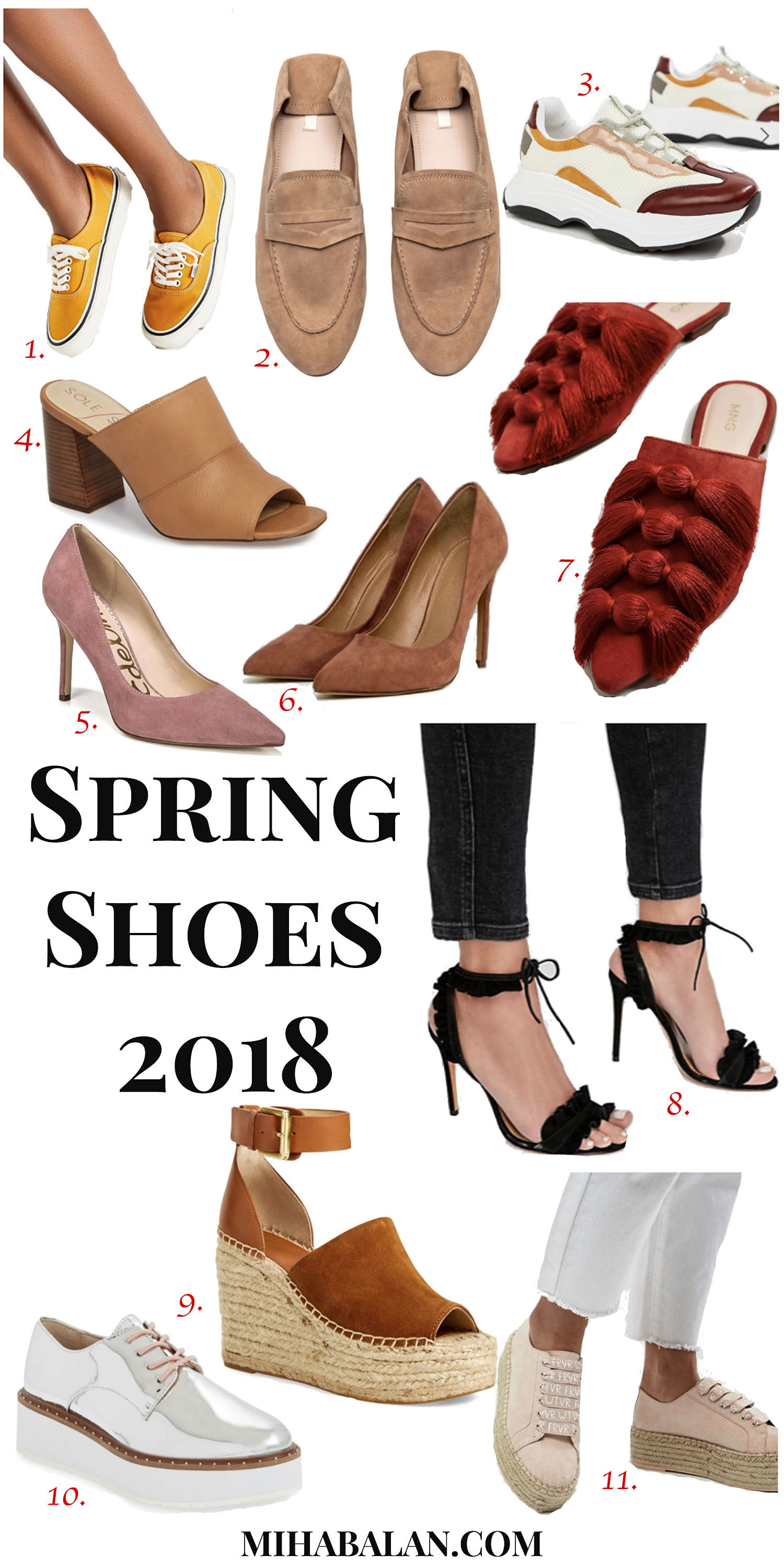spring shoes 2018, spring espadrilles, spring mules, spring sneakers, shoe wear, office shoes wear