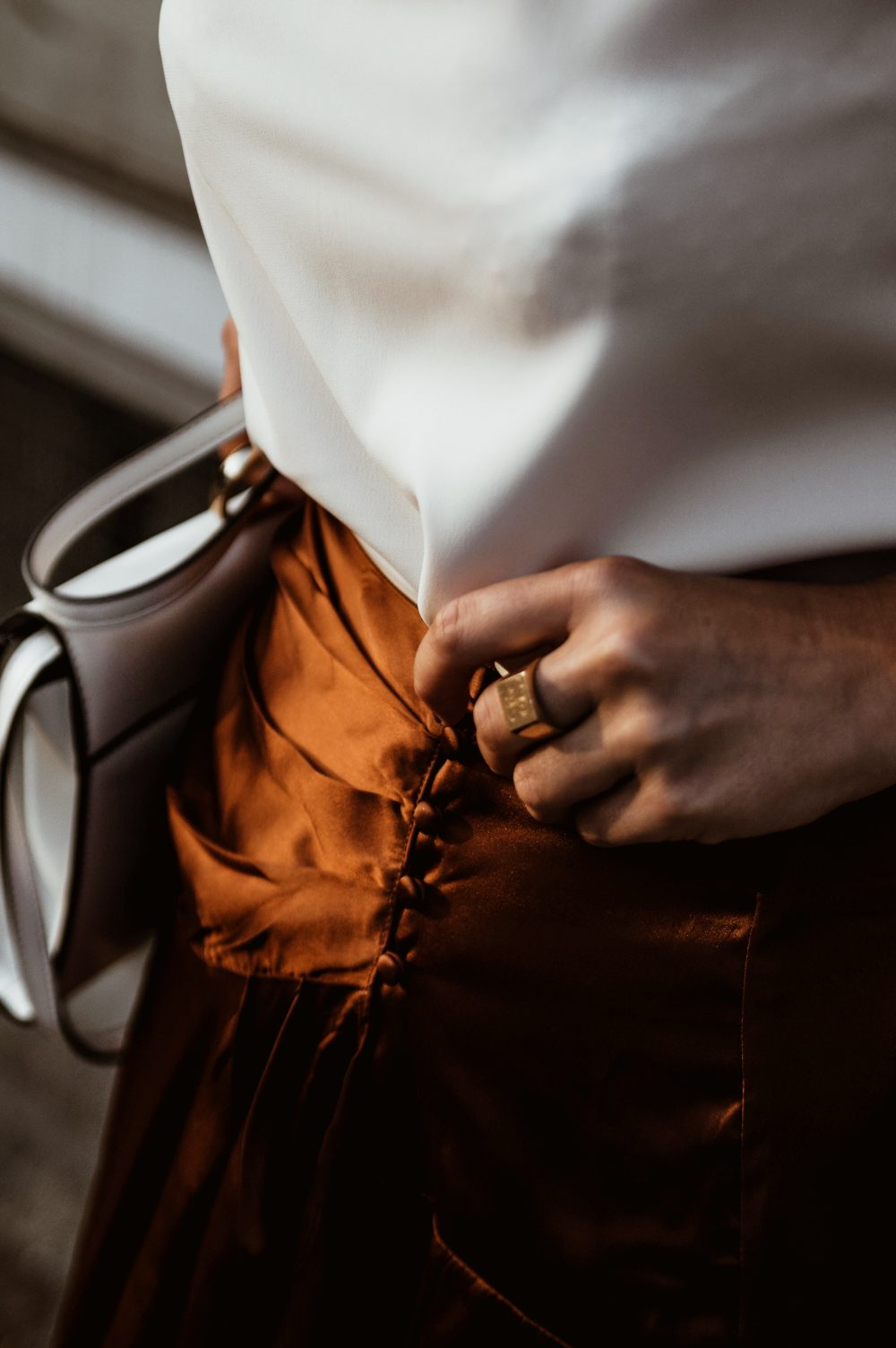 Brown satin skirt, fall work wear outfit, fall fashion