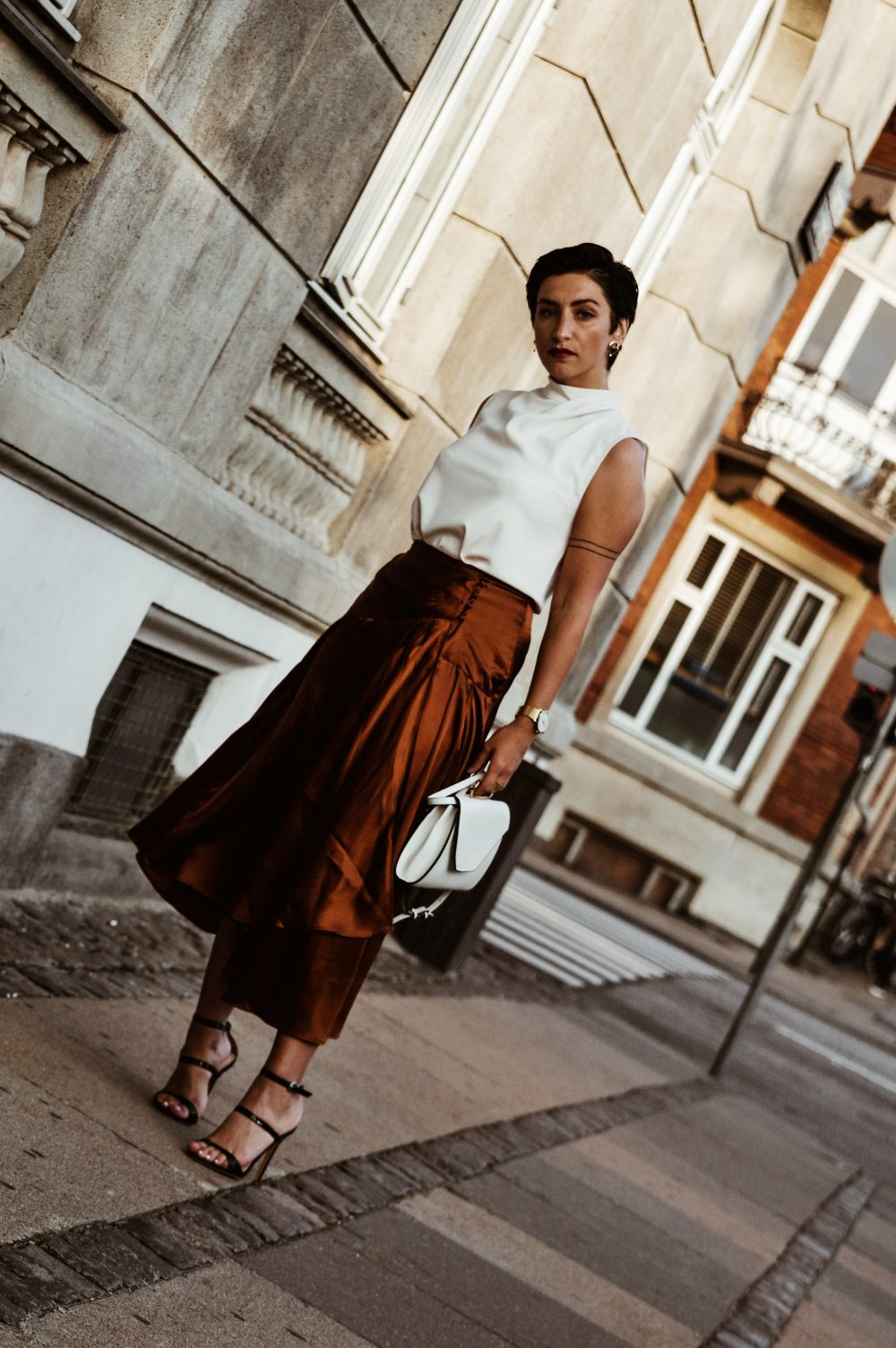 Stylish work wear outfit for pre-fall and fall, fall fashion, streetstyle, brown satin skirt and white top, corporate outfit, outfit inspiration.jpg