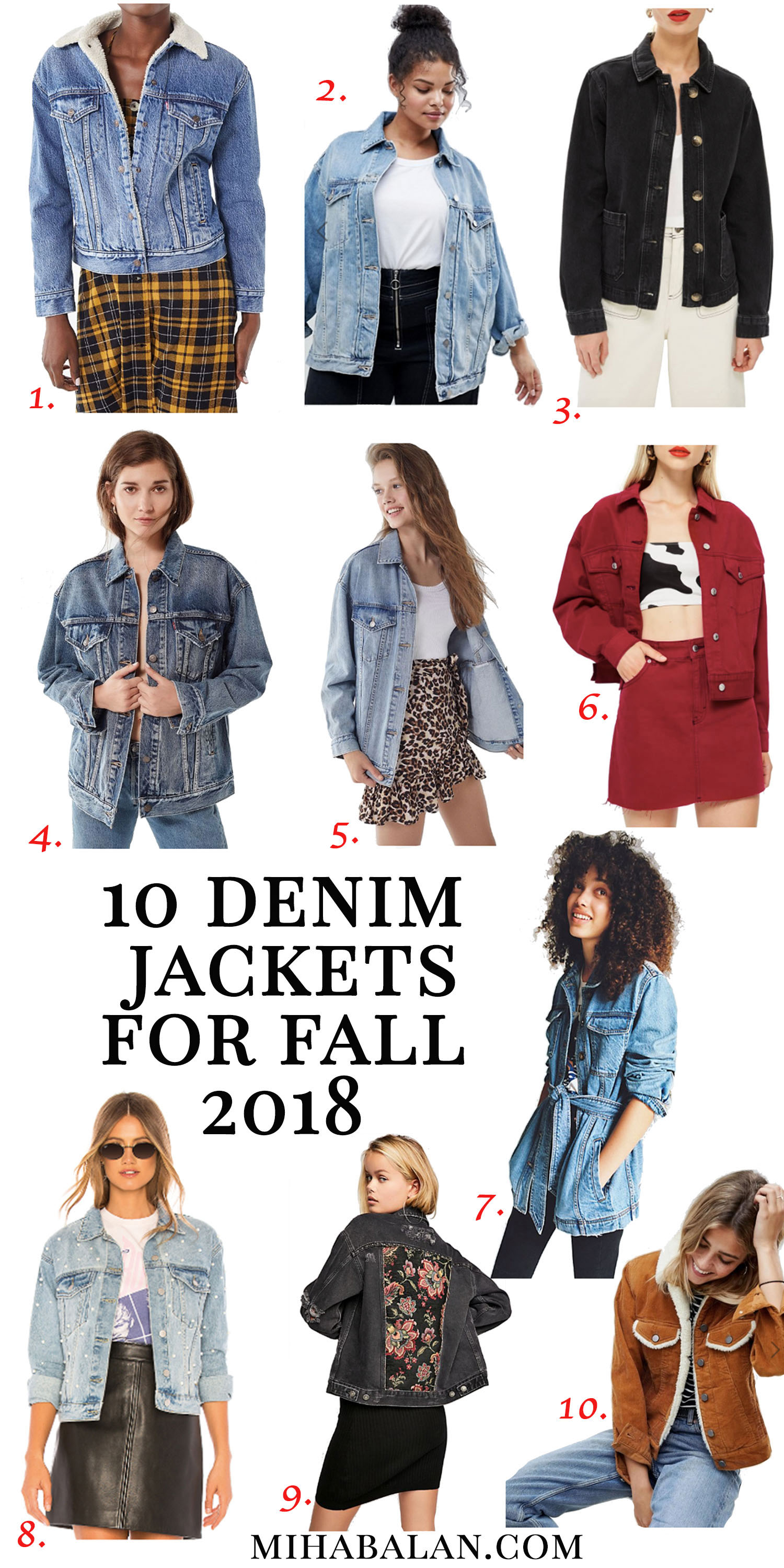10 denim jackets for fall 2018, denim addicted, fall fashion, fall trends, fall essentials