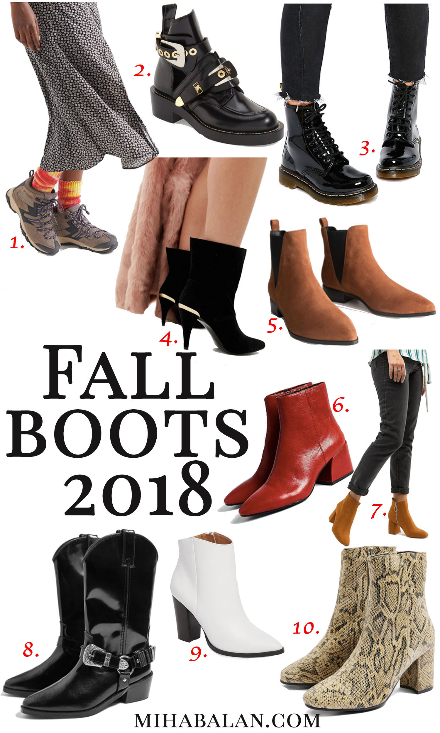 10 pairs of boots for fall, shoes, high heels boots, cowboy boots, flat boots, fall essentials
