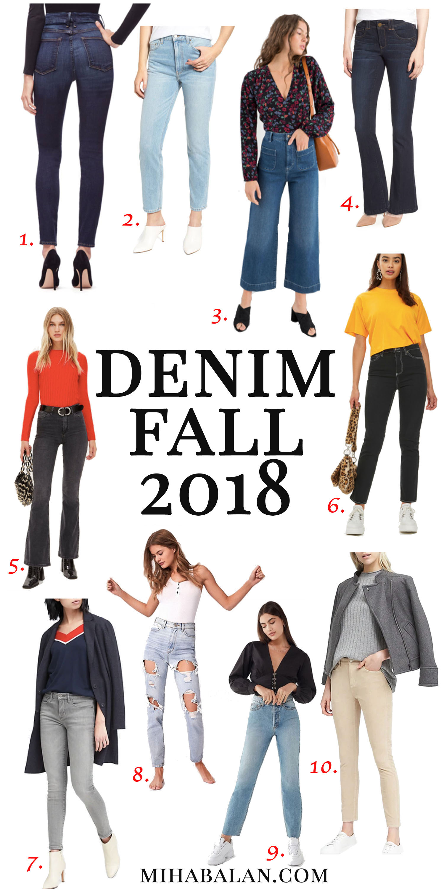 10 pairs of denim for fall 2018, denim addicted, fall fashion, fall essentials